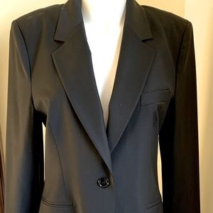 Shiny black fine wool blazer purple lining US12-14